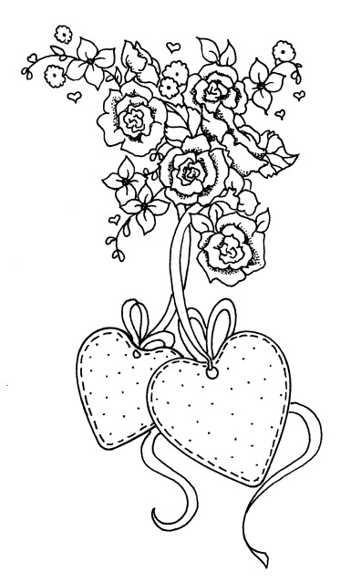 2 hearts hanging from flowers inked