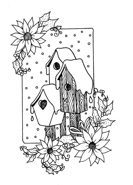 Bird houses with poinsettias inked