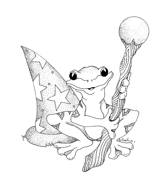 frog with wand and hat inked at 600 dpi