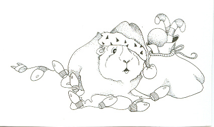 guinea pig with sack and lights inked